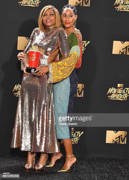 Tracee Ellis Ross Taraji P Henson pose at the 2017 MTV Movie And TV Awards at The Shrine Auditorium on May 7 2017 in Los Angeles California