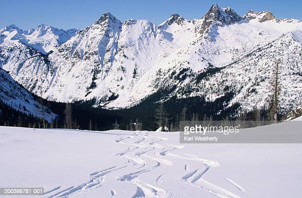 Traces of skis on snow, mountain range covered with snow in background, Heli Skiing, North Cascades, Washington, USA