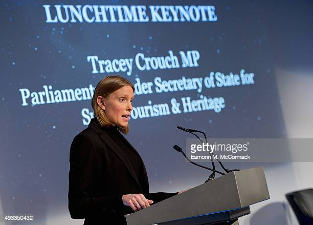 Tracey Crouch MP Parliamentary Under Secretary of State for Sport Tourism and Heritage at the Beyond Sport Summit on October 19 2015 in London England