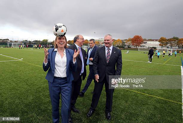 Tracey Crouch Sports Minister Nick Bitel Sport England Chairman Martin Glenn FA CEO and Greg Clarke FA Chairman during the opening of St George's...