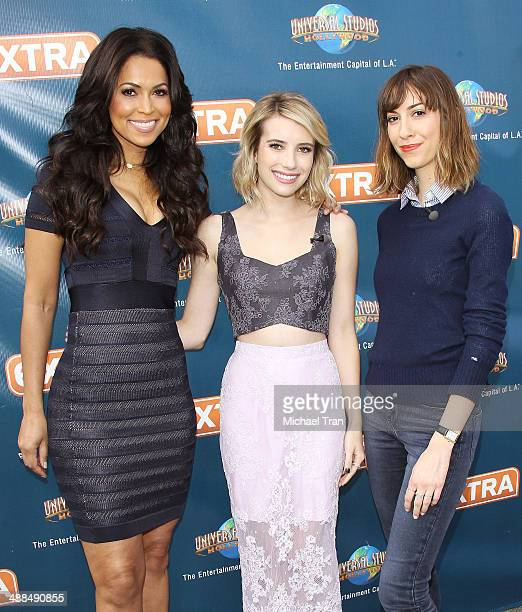 Tracey E Edmonds Emma Roberts and Gia Coppola make appearance on 'Extra' held at Universal City Walk on May 6 2014 in Universal City California