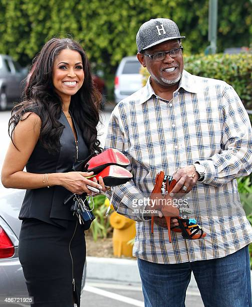 Tracey Edmonds and Gregg Leakes are seen on the set of Extra on April 25 2014 in Los Angeles California