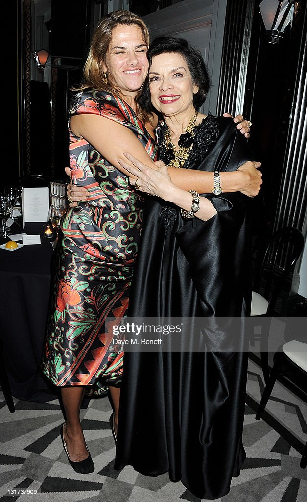 Tracey Emin and Bianca Jagger attend the Harper's Bazaar Women Of The Year Awards in association with Estee Lauder and NETAPORTER at Claridges Hotel...