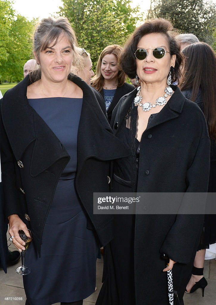 Tracey Emin (L) and Bianca Jagger attend the launch of 'Serpentine', a new fragrance by The Serpentine Gallery and fashion house Comme des Garcons featuring packaging artwork by Tracey Emin, at The Serpentine Gallery on April 28, 2014 in London, England.