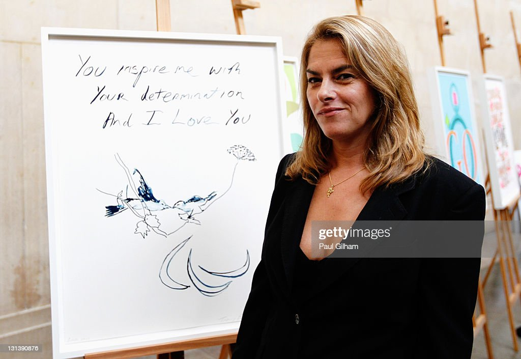 Tracey Emin poses with her specially commissioned poster during the unveiling of the Official Olympic and Paralympic Posters For London 2012 Olympic...