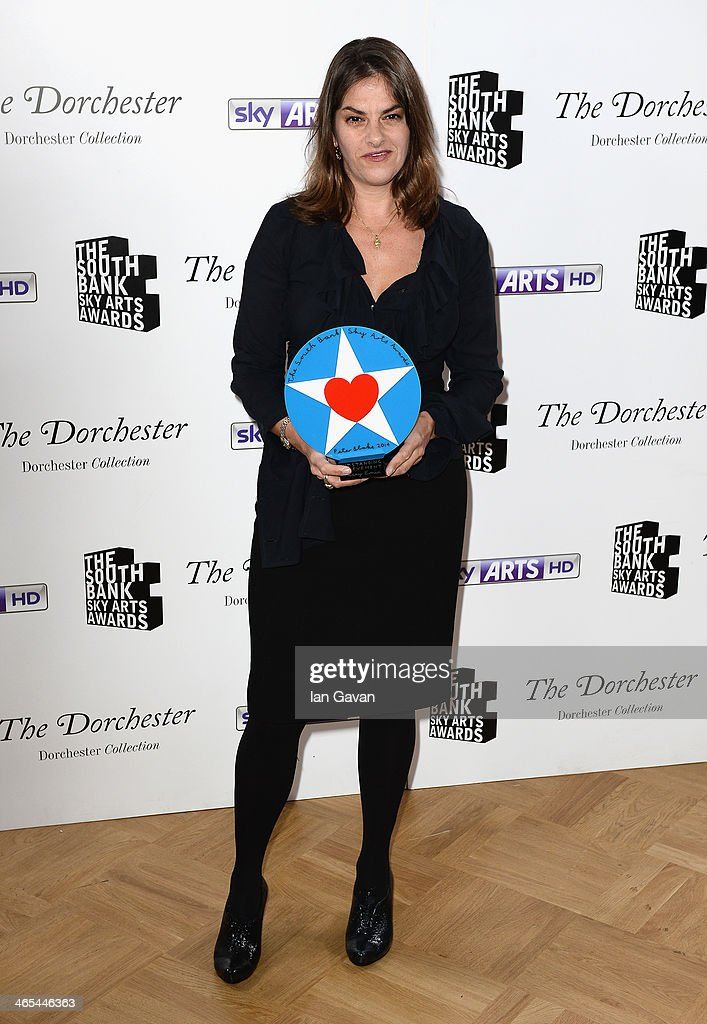 <a gi-track='captionPersonalityLinkClicked' href=/galleries/search?phrase=Tracey+Emin&family=editorial&specificpeople=203219 ng-click='$event.stopPropagation()'>Tracey Emin</a> with her Outstanding Achievement award during the South Bank Sky Arts awards at the Dorchester Hotel on January 27, 2014 in London, England.