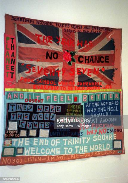 Tracey Emin's banner which features several expletives exhibited at the press view of the Turner Prize Nominees at the Tate Gallery in London Pieces...