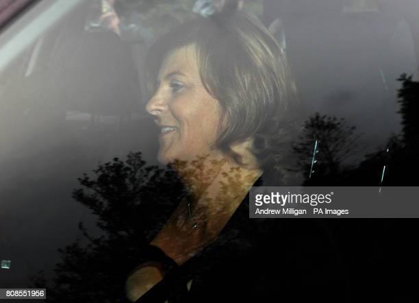 Tracey Erskine aunt of tennis player Jamie Murray arrives for Jamie's wedding to Alejandra Gutierrez at Cromlix House Hotel near Dunblane