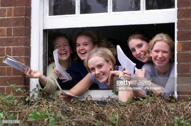Tracey Hughs Joanna Bishop Abigail Cranage Jenny Atkinson and Rowena Luscombe from Chelmsford High School for Girls in Essex celebrate their ALevel...
