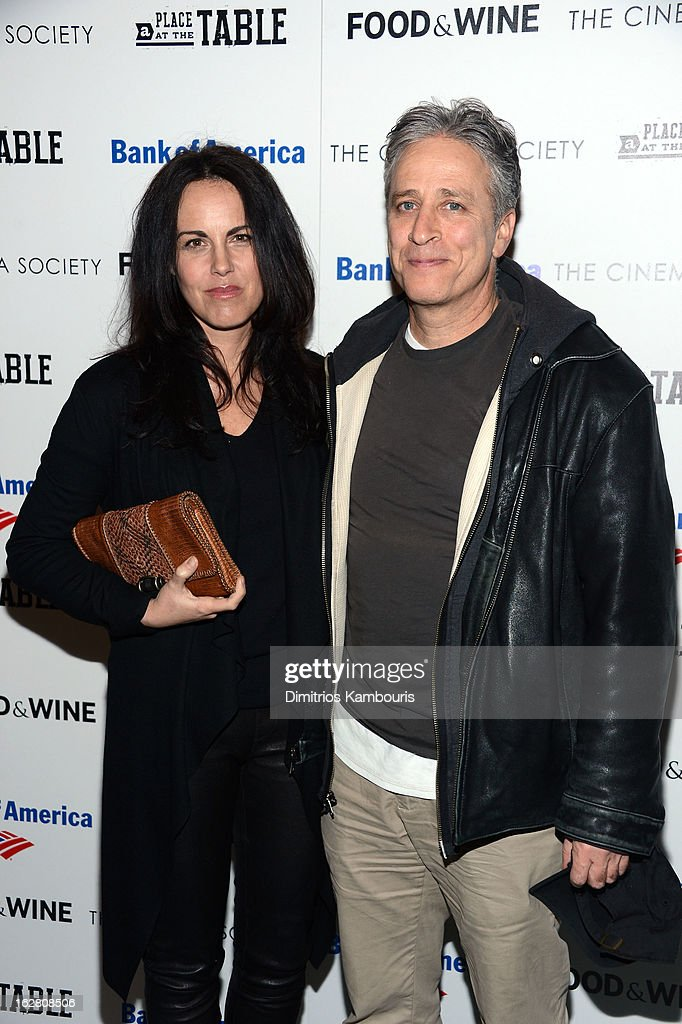 Tracey McShane and Jon Stewart attend the Bank of America and Food Wine with The Cinema Society screening of 'A Place at the Table' at Museum of...