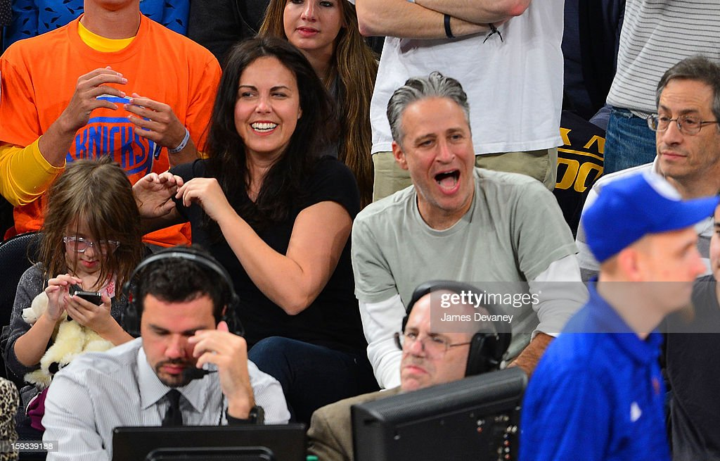 Tracey McShane Stewart and <a gi-track='captionPersonalityLinkClicked' href=/galleries/search?phrase=Jon+Stewart&family=editorial&specificpeople=202151 ng-click='$event.stopPropagation()'>Jon Stewart</a> attend the Chicago Bulls vs New York Knicks game at Madison Square Garden on January 11, 2013 in New York City.