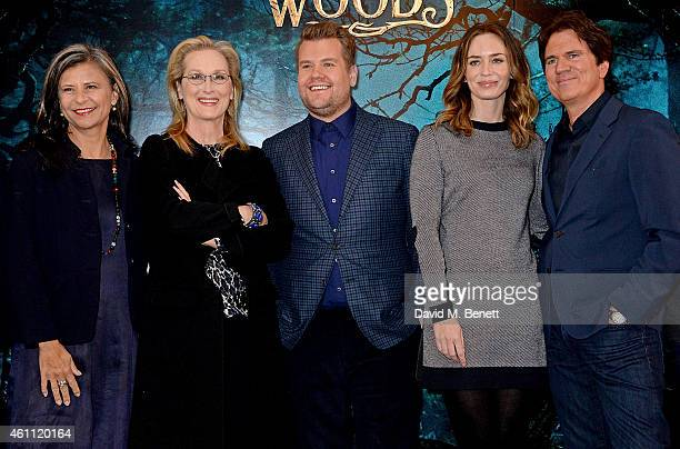 Tracey Ullman Meryl Streep James Corden Emily Blunt and Director Rob Marshall attend a photocall for 'Into The Woods' at Corinthia Hotel London on...