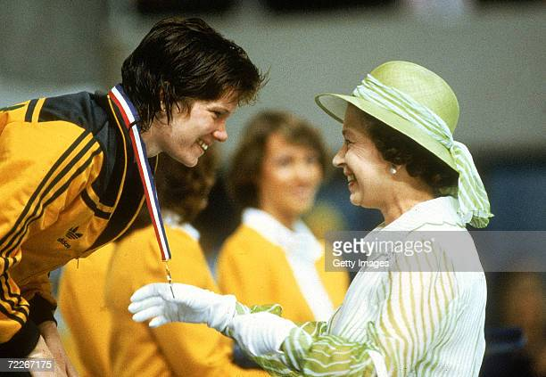 Tracey Wickham of Australia recieves her gold medal from Queen Elisabeth during the 1982 Commonwealth Games held in Brisbane Australia