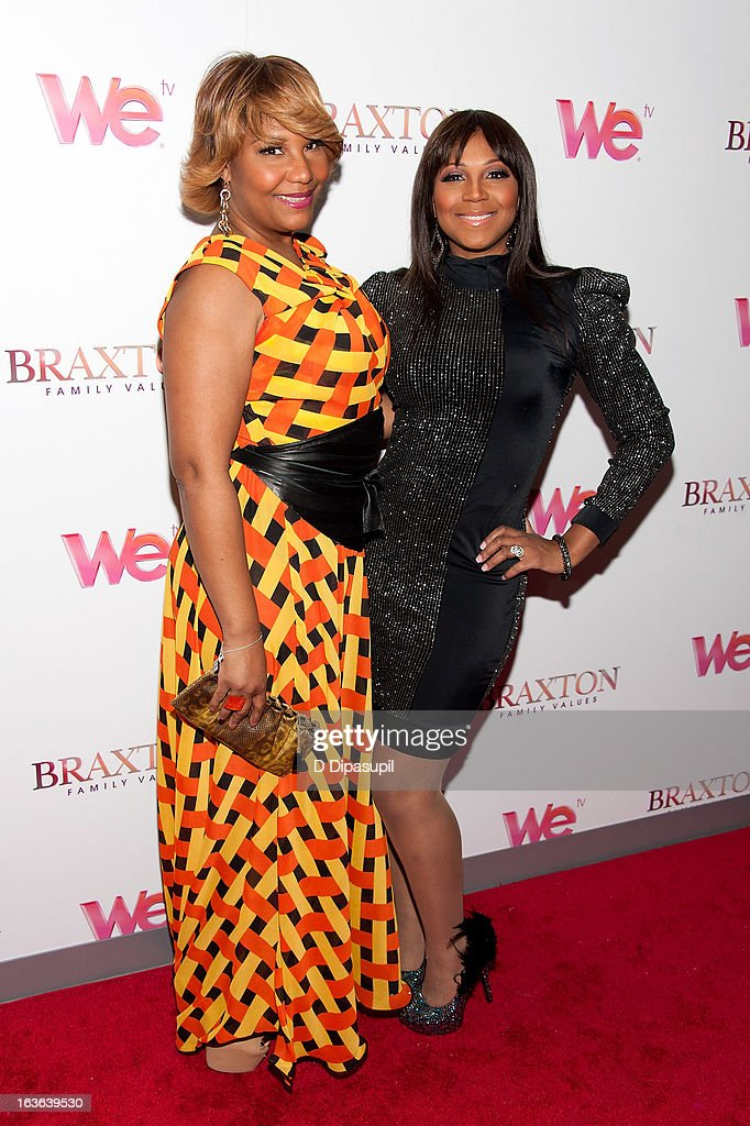 Traci Braxton (L) and <a gi-track='captionPersonalityLinkClicked' href=/galleries/search?phrase=Trina+Braxton&family=editorial&specificpeople=5880827 ng-click='$event.stopPropagation()'>Trina Braxton</a> attend the 'Braxton Family Values' Season Three premiere party at STK Rooftop on March 13, 2013 in New York City.