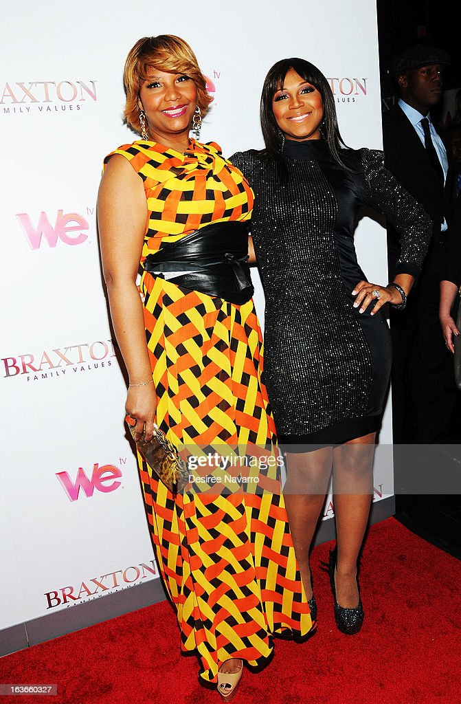 Traci Braxton and Trina Braxton attend the 'Braxton Family Values' Season Three premiere party at STK Rooftop on March 13, 2013 in New York City.