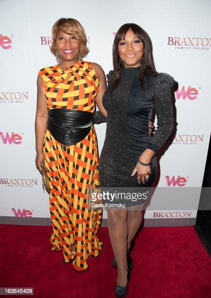 Traci Braxton and Trina Braxton attends the 'Braxton Family Values' Season Three premiere party at STK Rooftop on March 13 2013 in New York City