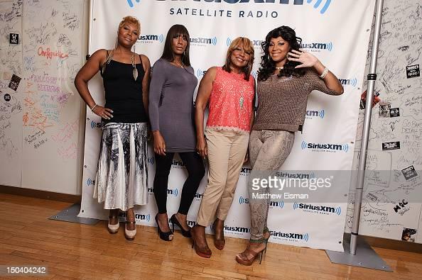 Traci Braxton Towanda Braxton Evelyn Braxton and Trina Braxton of WE tv's 'Braxton Family Values' visit SiriusXM Studios on August 16 2012 in New...