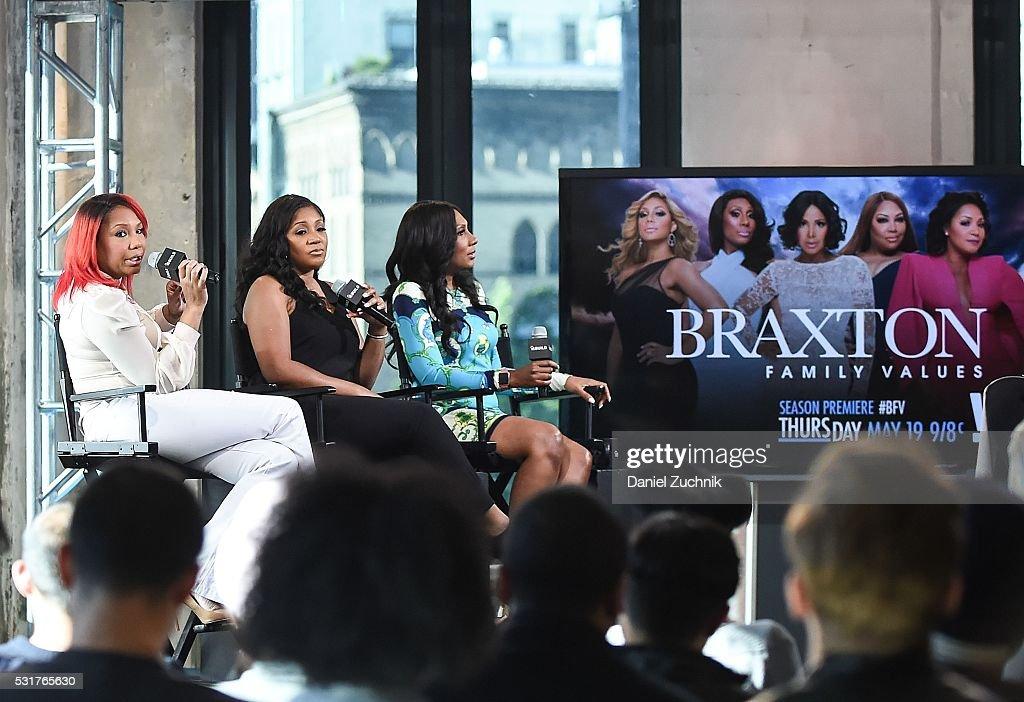 Traci Braxton Trina Braxton and Towanda Braxton attend AOL Build to discuss the show 'Braxton Family Values' on May 16 2016 in New York New York