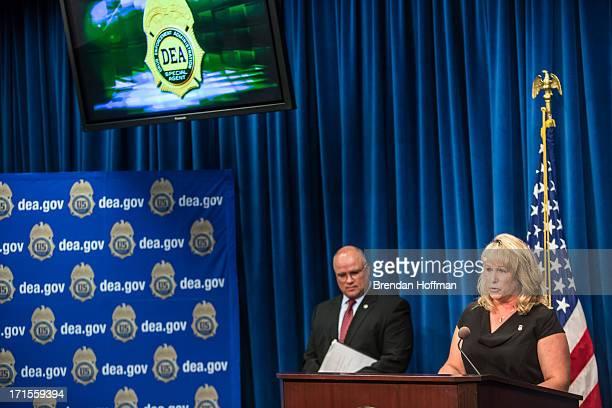 Traci Lembke Homeland Security Investigations deupty assistant director of investigative programs speaks at a news conference at Drug Enforcement...