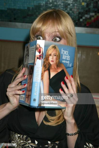 Traci Lords wearing a blouse by Azzedine AlaIea during Traci Lords Celebrates the Release of Her New Book 'Underneath It All' at Global 33 in New...