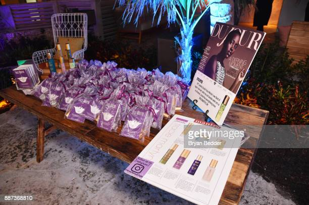 Tracie Martyn skincare on display at DuJour's Jason Binn And WellNEST Celebrate Miami Beach's Art Basel KickOff at The Confidante on December 6 2017...