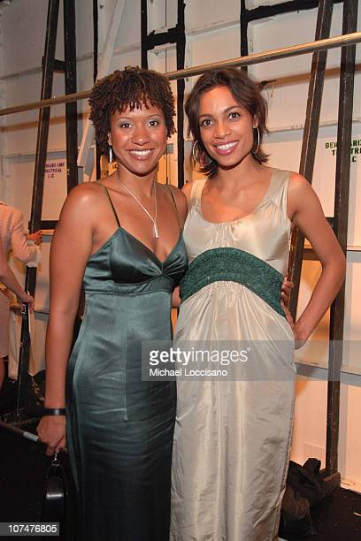 Tracie Thoms and Rosario Dawson during Olympus Fashion Week Spring 2006 Vera Wang Backstage and Front Row at Bryant Park in New York New York United...