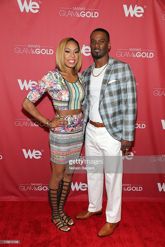 Track and field athlete and TV personality Sanya Richards-Ross and her husband New York Giants player Aaron Ross attend the WE tv screening for 'Sanya's Glam & Gold' at The Gansevoort Park Ave on July 15, 2013 in New York City. Series premieres Thursday, July 25th at 10pm ET on WE tv.