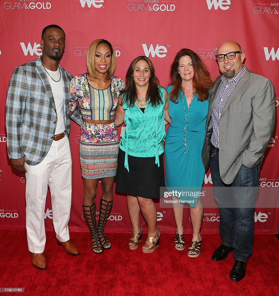 Track and field athlete and TV personality Sanya Richards-Ross (2nd L) and her husband New York Giants player Aaron Ross (L) together with Sharon Richards (C), Senior Vice President of Production & Development for WE tv Lauren Gellert, Executive Producer for WE tv Kate Farrell (2nd R) and Executive producer Jason Carbone (R) pose for a photo at the WE tv screening for 'Sanya's Glam & Gold' at The Gansevoort Park Ave on July 15, 2013 in New York City. Series premieres Thursday, July 25th at 10pm ET on WE tv.