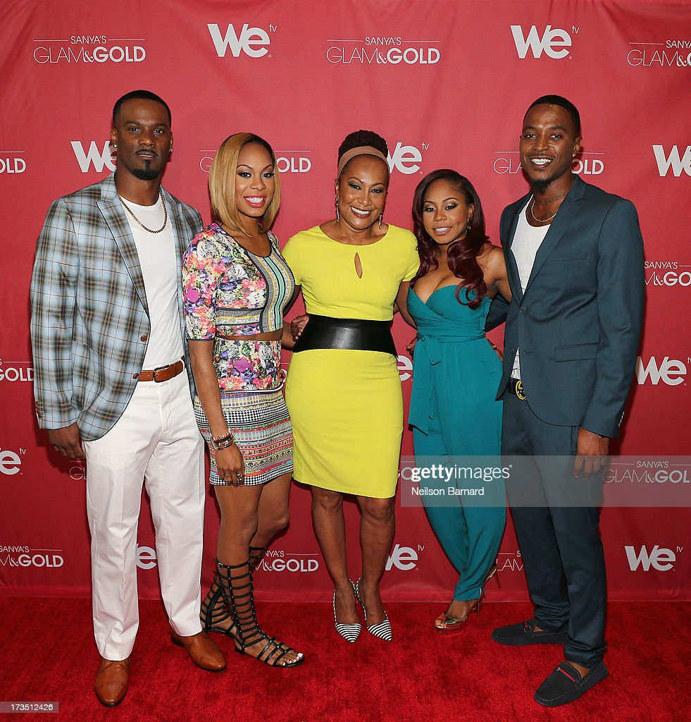 Track and field athlete and TV personality Sanya Richards-Ross (2nd L) and her husband New York Giants player Aaron Ross (L) together with Sharon Richards (C), Shari Richards and SG&G cast member Tyrell Gatewood attend the WE tv screening for 'Sanya's Glam & Gold' at The Gansevoort Park Ave on July 15, 2013 in New York City. Series premieres Thursday, July 25th at 10pm ET on WE tv.