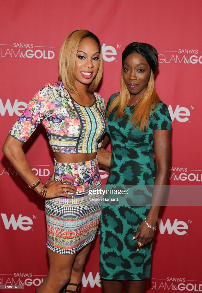 Track and field athlete and TV personality <a gi-track='captionPersonalityLinkClicked' href=/galleries/search?phrase=Sanya+Richards&family=editorial&specificpeople=239062 ng-click='$event.stopPropagation()'>Sanya Richards</a>-Ross and Recording artist <a gi-track='captionPersonalityLinkClicked' href=/galleries/search?phrase=Estelle+-+Singer&family=editorial&specificpeople=206205 ng-click='$event.stopPropagation()'>Estelle</a> attend the WE tv screening for 'Sanya's Glam & Gold' at The Gansevoort Park Ave on July 15, 2013 in New York City. Series premieres Thursday, July 25th at 10pm ET on WE tv.