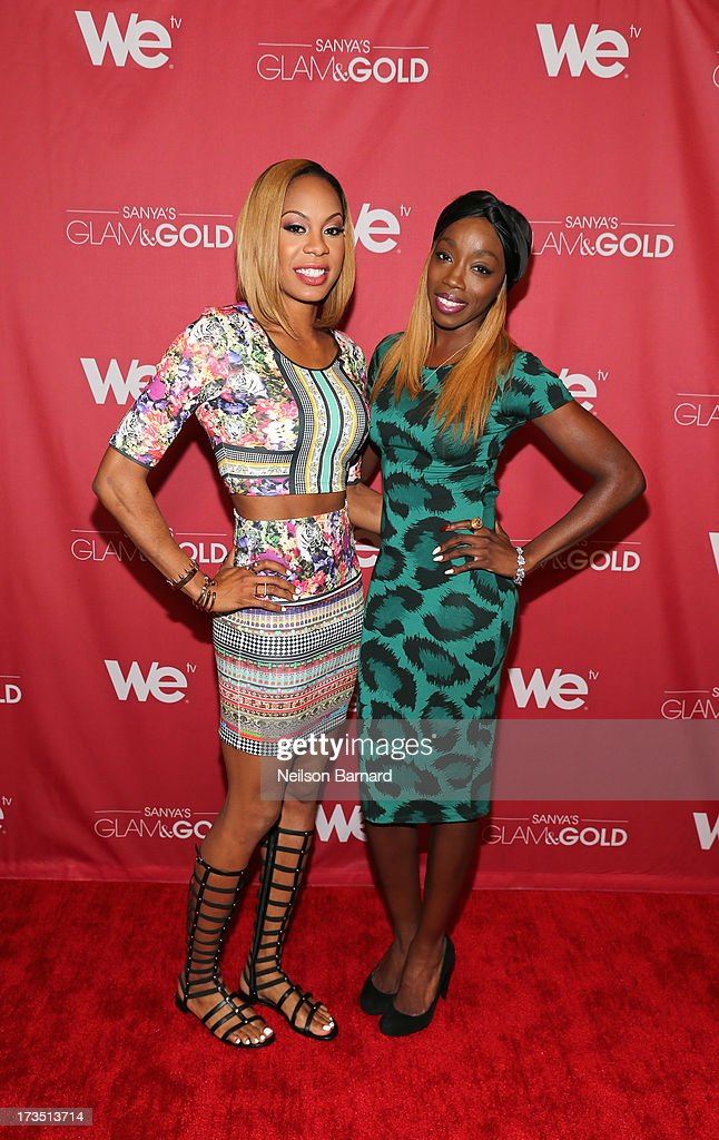 Track and field athlete and TV personality Sanya Richards-Ross and Recording artist Estelle attend the WE tv screening for 'Sanya's Glam & Gold' at The Gansevoort Park Ave on July 15, 2013 in New York City. Series premieres Thursday, July 25th at 10pm ET on WE tv.