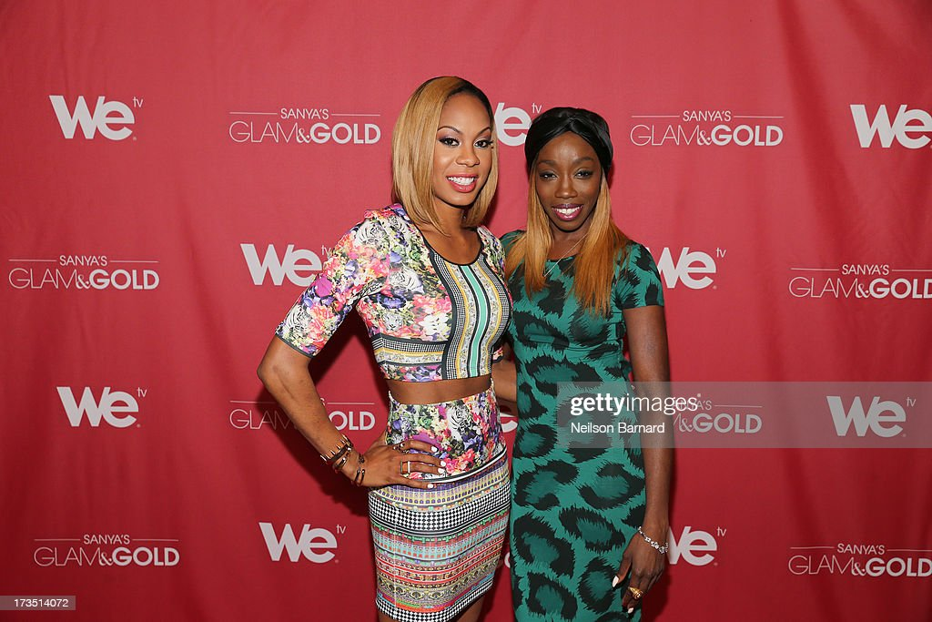 Track and field athlete and TV personality <a gi-track='captionPersonalityLinkClicked' href=/galleries/search?phrase=Sanya+Richards&family=editorial&specificpeople=239062 ng-click='$event.stopPropagation()'>Sanya Richards</a>-Ross and Recording artist <a gi-track='captionPersonalityLinkClicked' href=/galleries/search?phrase=Estelle&family=editorial&specificpeople=206205 ng-click='$event.stopPropagation()'>Estelle</a> attend the WE tv screening for 'Sanya's Glam & Gold' at The Gansevoort Park Ave on July 15, 2013 in New York City. Series premieres Thursday, July 25th at 10pm ET on WE tv.