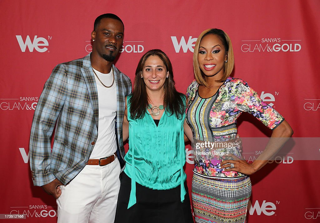 Track and field athlete and TV personality Sanya Richards-Ross (R), her husband New York Giants player Aaron Ross and Senior Vice President of Production & Development for WE tv Lauren Gellert attend the WE tv screening for 'Sanya's Glam & Gold' at The Gansevoort Park Ave on July 15, 2013 in New York City. Series premieres Thursday, July 25th at 10pm ET on WE tv.