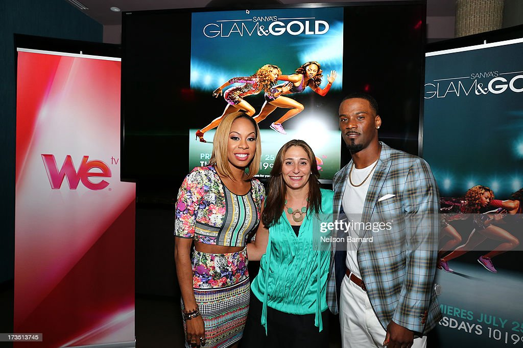 Track and field athlete and TV personality Sanya Richards-Ross, her husband New York Giants player Aaron Ross (R) and Senior Vice President of Production & Development for WE tv Lauren Gellert (C) attend the WE tv screening for 'Sanya's Glam & Gold' at The Gansevoort Park Ave on July 15, 2013 in New York City. Series premieres Thursday, July 25th at 10pm ET on WE tv.