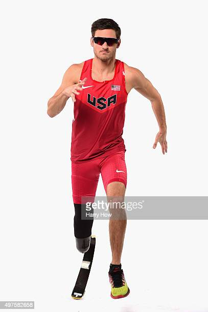 Track and field athlete Jarryd Wallace poses for a portrait at the USOC Rio Olympics Shoot at Quixote Studios on November 17 2015 in Los Angeles...