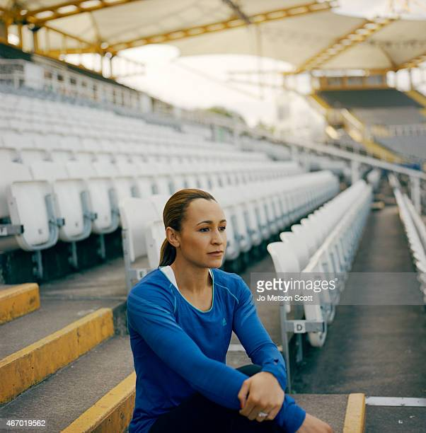 Track and field athlete Jessica EnnisHill is photographed for the Telegraph on November 1 2013 in London England