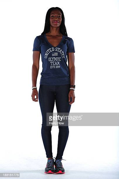 Track and field athlete Kellie Wells poses for a portrait during the USOC Portrait Shoot at Smashbox West Hollywood on November 17 2011 in West...