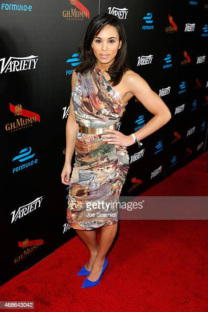 Track and Field Athlete Louise Hazel attends the Variety and Formula E Hollywood Gala at Chateau Marmont on April 4 2015 in Los Angeles California