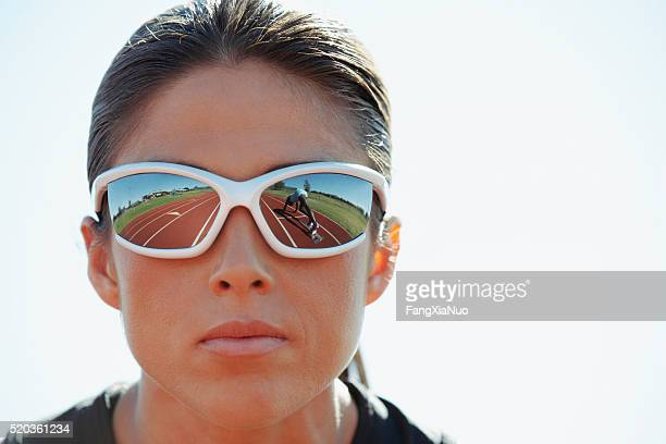 Track and field athlete with sunglasses