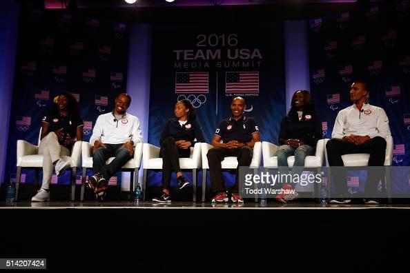 Track and field athletes Alysia Montano Aries Merritt Allyson Felix Meb Keflezighi Dawn HarperNelson and Ashton Eaton address the media at the USOC...