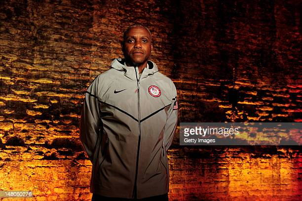 US track and field legend Carl Lewis wears Nike's Medal Stand jacket which will be worn by successful athletes of Nike sponsored Federations Carl...