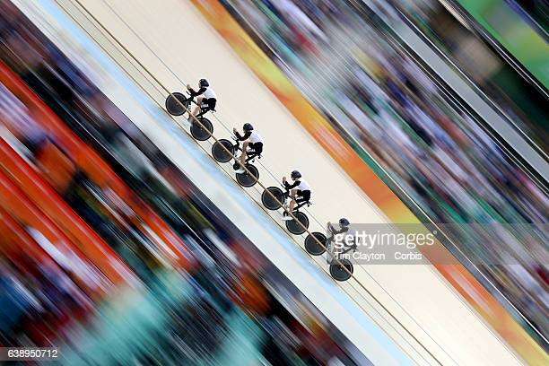 Day 6 Olivier Beer Silvan Dillier Thery Schir and Cyrillee Thiery of Team Switzerland in action in the Men's Team Pursuit Final during the track...