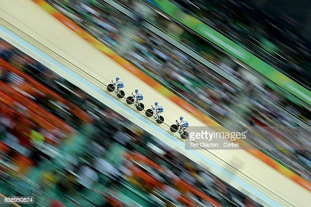 Day 6 Simone Consonni Filippo Ganna Francesco Lamon and Michele Scartezzini of Italy in action during the Men's Team Pursuit Finals during the track...