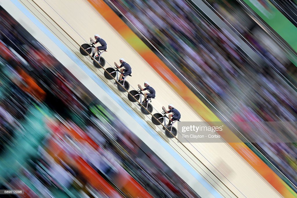 Day 6 The Great Britain team of Edward Clancy, Steven Burke, Owain Doull and Bradley Wiggins winning the gold medal in world record time during the Men's Team Pursuit race during the track cycling competition at the Rio Olympic Velodrome August 12, 2016 in Rio de Janeiro, Brazil.