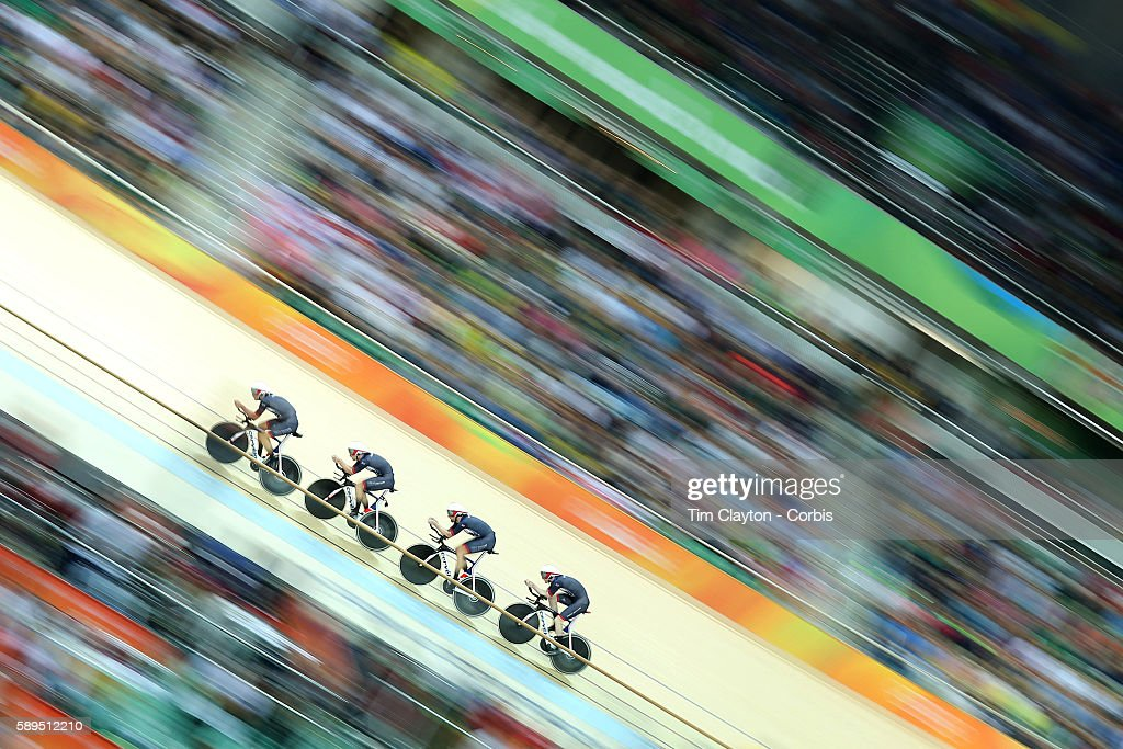 Day 6 The Great Britain team of Edward Clancy Steven Burke Owain Doull and Bradley Wiggins winning the gold medal in world record time during the...