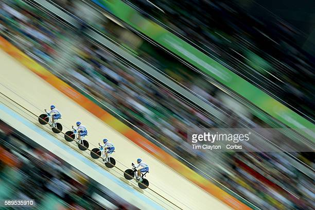 Day 6 The Italian team of Simone Consonni Michele Scartezzini Filippo Ganna and Francesco Lamon in action during the Men's Team Pursuit race during...