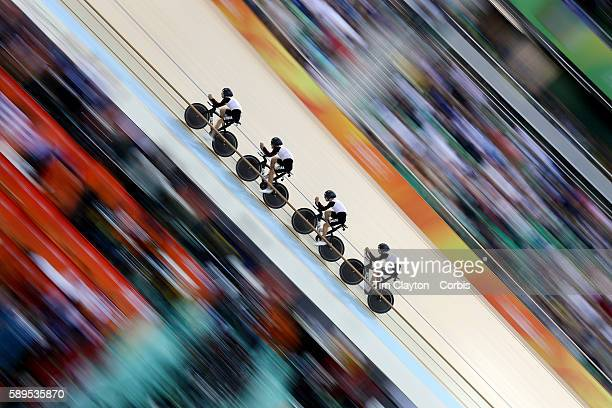 Day 6 The Switzerland team of Olivier Beer Silvan Dillier Thery Schir and Cyrille Thiery 'nin action during the Men's Team Pursuit race during the...