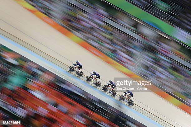 Day 8 Sarah Hammer Kelly Catlin Chloe Dygert and Jennifer Valente of United States of American in action in the Women's Team Pursuit Final during the...