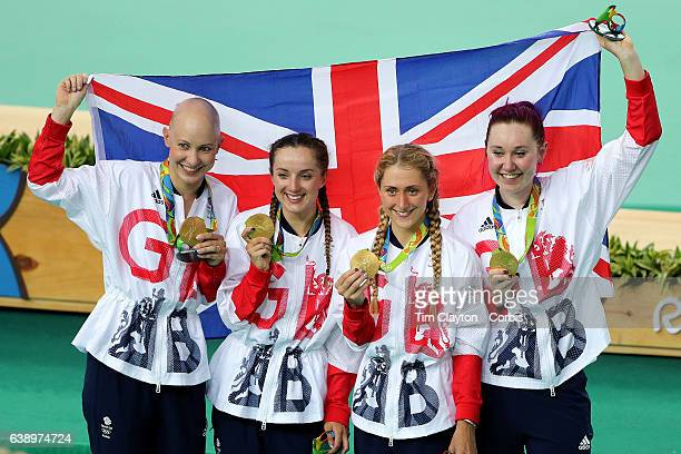 Day 8 The Great Britain team from right of Katie Archibald Laura Trott Elinor Barker and Joanna RowsellShand celebrate after winning the gold medal...