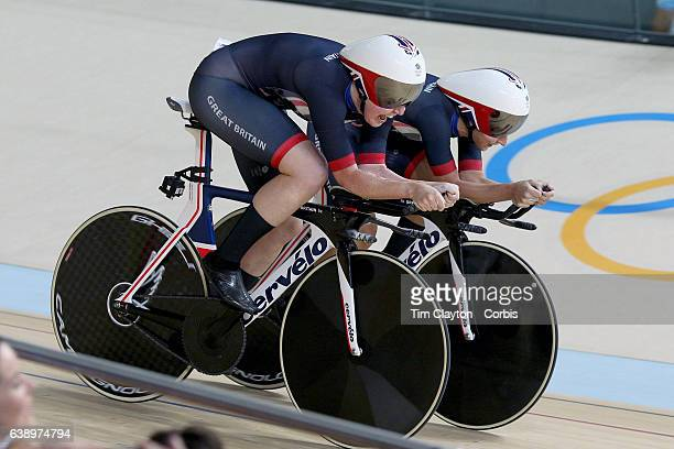 Day 8 The Great Britain team from right of Katie Archibald Laura Trott Elinor Barker and Joanna RowsellShand in action while winning the gold medal...